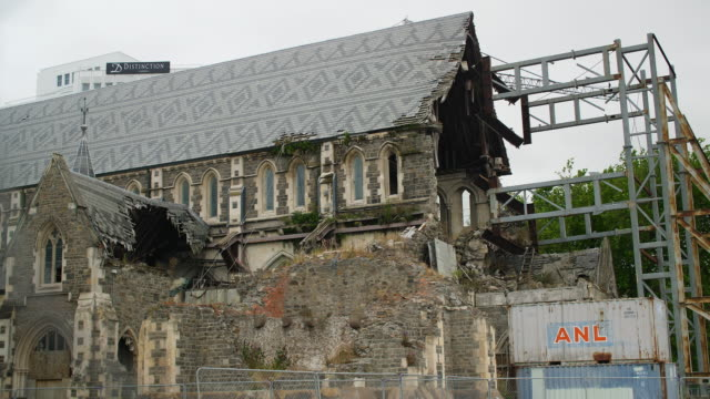 The remains of the Christchurch Cathedral, damaged by earthquake