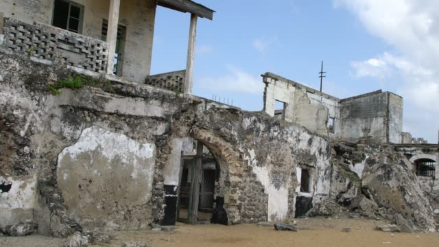 the remains of the fort prinzenstein in keta, ghana - ghana stock videos & royalty-free footage