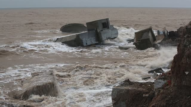 the remains of the godwin battery on the beach at kilnsea at the head of spurn point on yorkshires east coast, uk. initially constructed during the... - concrete stock videos & royalty-free footage