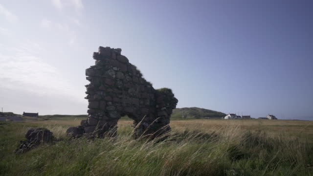 the remains of the original iona abbey (an abaid) scotland. - scottish culture video stock e b–roll