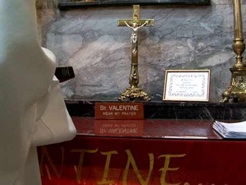 the remains of the original saint valentine patron saint of lovers have been kept in the carmelite whitefriars street church in dublin since the... - priest stock videos and b-roll footage