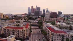 The remote aerial view of the Downtown Los Angeles over the residential district