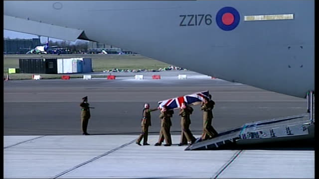 the repatriation of signaller ian sartoriusjones england brize norton / carterton general view of plane taxiing on runway at brize norton / soldiers... - hearse stock videos & royalty-free footage