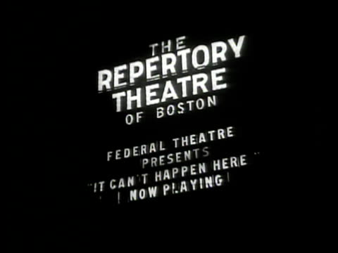 'it can't happen here' play night la ms 'the repertory theatre federal theatre presents 'it can't happen here'' ha ws crowds entering theatre boston... - theatrical performance stock videos and b-roll footage