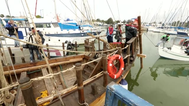 the replica of a 2500yearold ship found offshore from an israeli kibbutz rebuilt using what researchers say were the same materials methods and tools... - haifa stock videos and b-roll footage