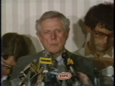 the representative for major league baseball owners, ray grebey announces the baseball strike has ended and an agreement has been reached in which... - sport stock videos & royalty-free footage