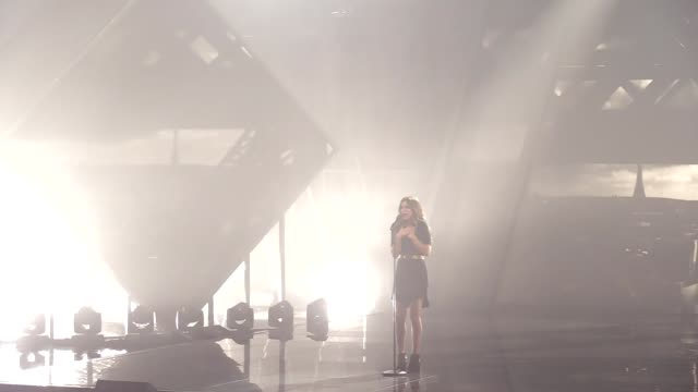 the representative of france to the eurovision song contest alma performs on a stage as a guestduring the final of the ukrainian national... - 61st eurovision song contest stock videos and b-roll footage