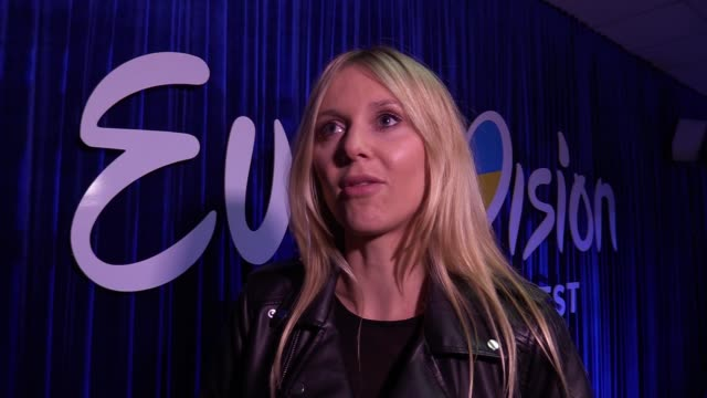 the representative of poland the eurovision song contest kasia mos speaks with media during the ukrainian final of the ukrainian national... - 61st eurovision song contest stock videos and b-roll footage