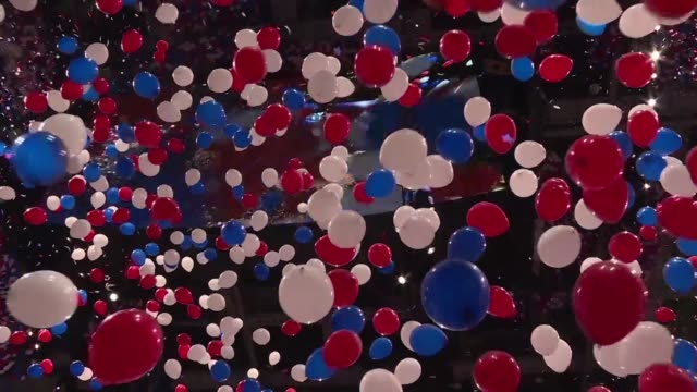 the republican national convention comes to a close with a festive atmosphere as 125000 balloons fall in the arena and the trump and pence families... - 2016 stock-videos und b-roll-filmmaterial