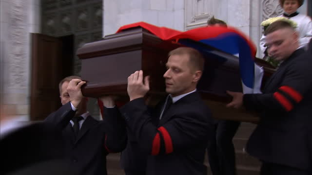 the requiem funeral for the assassinated russian ambassador to turkey andrey karlov has been held in moscow president putin did not attend but at a... - assassination of andrei karlov stock videos & royalty-free footage