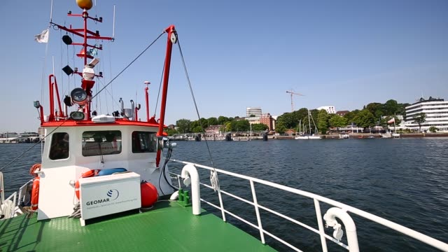 the research vessel 'polarfuchs' is pictured in the kiel fjord close to the geomar helmholtz centre for ocean research in the northern german city of... - vessel part stock videos & royalty-free footage