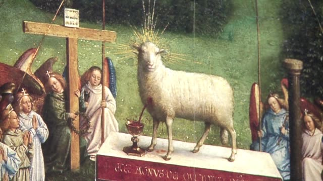 stockvideo's en b-roll-footage met the restoration of the outside panels of ghent's the adoration of the mystic lamb altarpiece by the van eyck brothers was presented to the public... - altaar