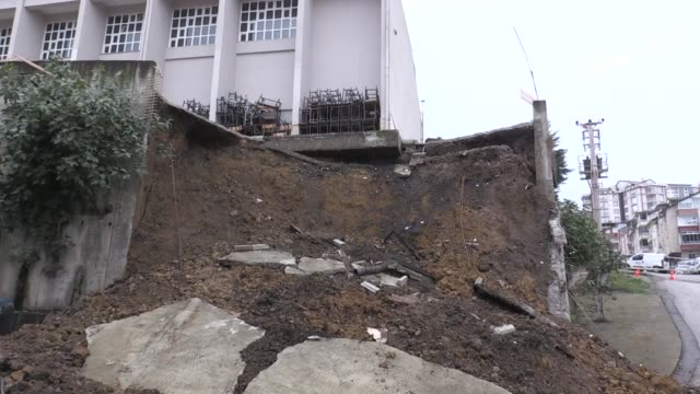 the retaining wall of a high school collapses following heavy rain in the northern turkish province of ordu on october 05, 2018. interview with... - surrounding wall stock videos & royalty-free footage