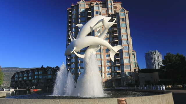 the rhapsody sculpture, water street, kelowna city, okanagan lake, british columbia, canada - sculpture stock videos & royalty-free footage