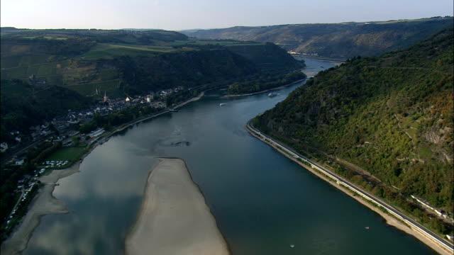 the rhine passing bacharach  - aerial view - rheinland-pfalz,  germany - river rhine stock videos and b-roll footage