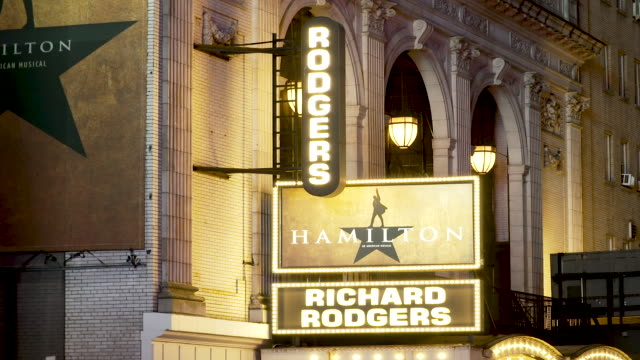the richard rodgers theatre. new york governor andrew cuomo has called for the shutdown of all performances at broadway and off-broadway theater... - broadway manhattan stock videos & royalty-free footage