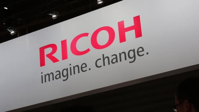 the ricoh co.s logo is displayed at the companys booth cp+ camera and photo imaging show 2015 in yokohama, kanagawa prefecture, japan, on thursday,... - full frame stock videos & royalty-free footage