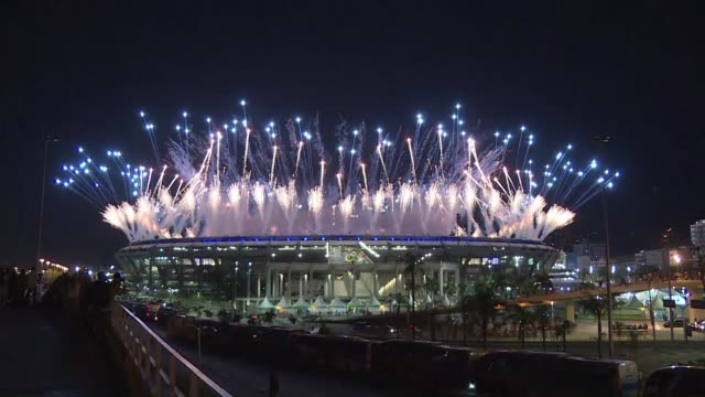the rio olympics opening ceremony started with fireworks and laser lit choreography on friday as brazil sought to forget seven years of troubled... - opening ceremony stock videos & royalty-free footage