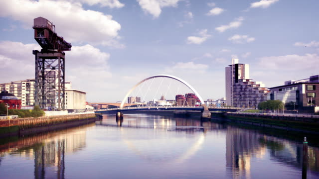 the river clyde arc bridge, glasgow, scotland - scotland stock videos & royalty-free footage