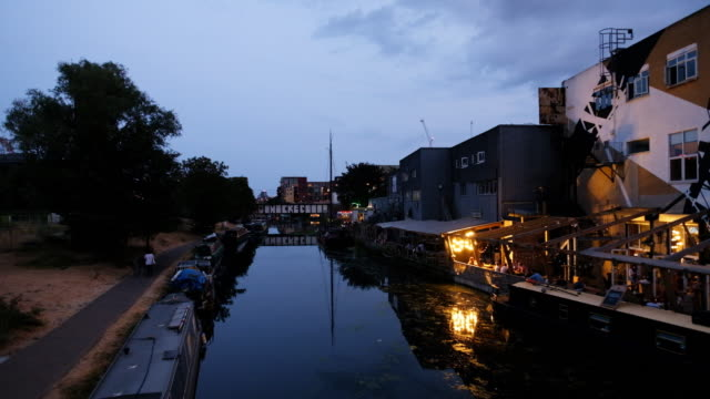 the river lea at hackney wick in london at dusk. - hackney stock videos & royalty-free footage