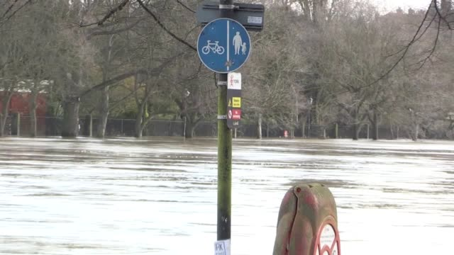 the river ouse remains high in the centre of york as the region prepares for more extreme weather with the arrival of storm dennis this weekend. the... - river ouse stock videos & royalty-free footage