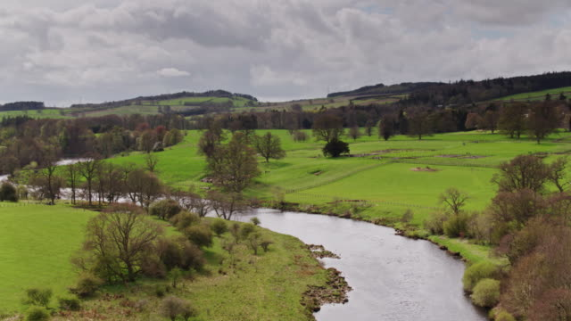the river tyne and hadrian's wall - drone shot - rural scene stock videos & royalty-free footage