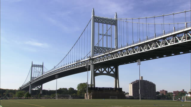 The Robert F. Kennedy Bridge - East River Span (formerly the Triborough Bridge) over a soccer field