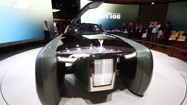 The RollsRoyce Vision Next 100 concept automobile produced by Bayerische Motoren Werke AG sits on display during its unveiling in London UK on...