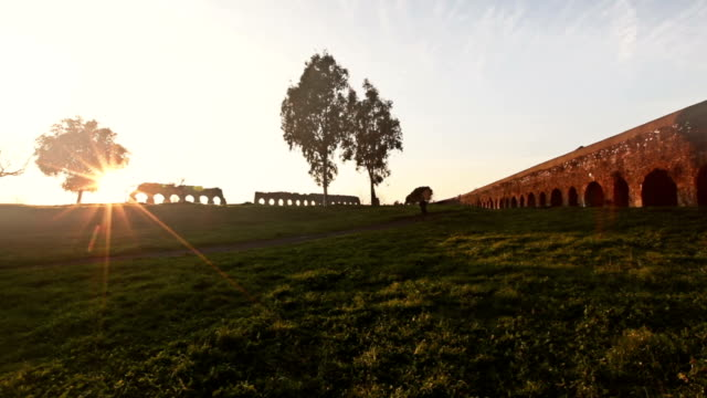 the roman aqueduct at parco degli acquedotti - romans stock videos and b-roll footage