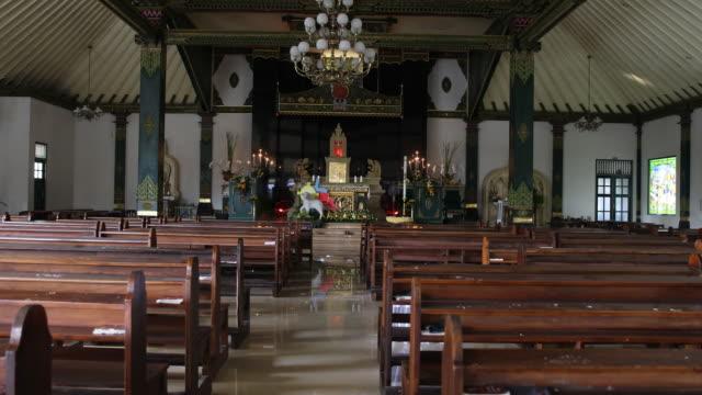 vídeos y material grabado en eventos de stock de the roman catholic church church of the sacred heart of jesus in indonesia which is built in javanese design - catolicismo
