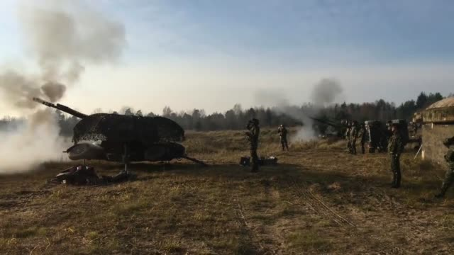 the romanian army ground base air defense detachment black bats demonstrate their air defense fire power during a live fire exercise at wierzbiny... - polen stock-videos und b-roll-filmmaterial