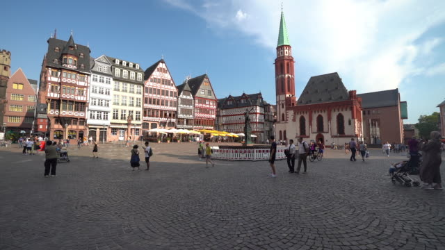 the romerberg, frankfurt's old town center - slow motion - old town stock videos & royalty-free footage
