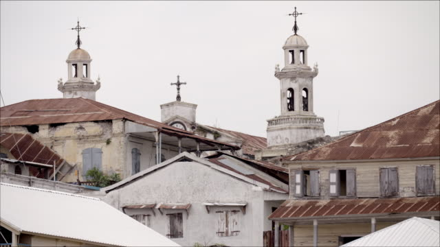 ws of the roofs and church towers of jacmel in haiti - haiti stock videos & royalty-free footage