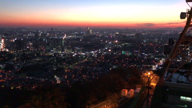 the rooftop of namsan tower , seoul , south korea. - nightlife stock videos & royalty-free footage