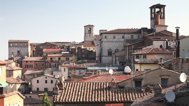 the rooftops of perugia, umbria. - perugia stock videos & royalty-free footage
