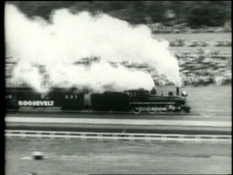 the roosevelt and hoover trains collide and explode at the iowa state fair - 1932 stock videos & royalty-free footage
