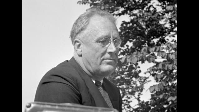 vídeos y material grabado en eventos de stock de the roosevelt house / franklin roosevelt stands with group supported by son james / vs eleanor crouches while roasting hot dogs and sausages over the... - franklin roosevelt