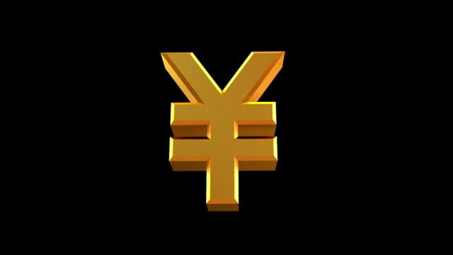 vidéos et rushes de la rotation de la sig avec masque rmb - symbole du yen