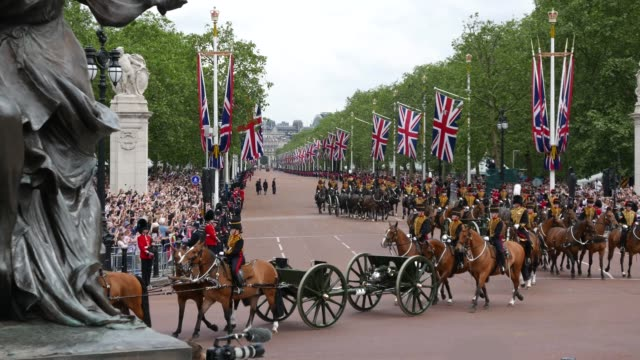 the royal artillery regiment - trooping the colour stock videos & royalty-free footage
