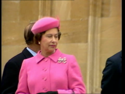 the royal family attend christmas morning service the royal family attend christmas morning service england surrey windsor st george's chapel av... - windsor england stock videos and b-roll footage