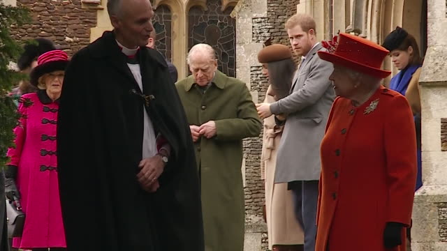 the royal family attending christmas day service at sandringham - norfolk england stock videos & royalty-free footage