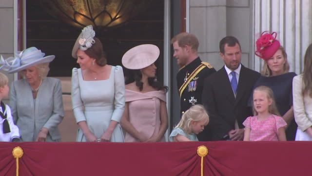 the royal family stands on the balcony of buckingham palace as part of the 2018 trooping the colour, where regiments of the british and commonwealth... - (war or terrorism or election or government or illness or news event or speech or politics or politician or conflict or military or extreme weather or business or economy) and not usa stock videos & royalty-free footage