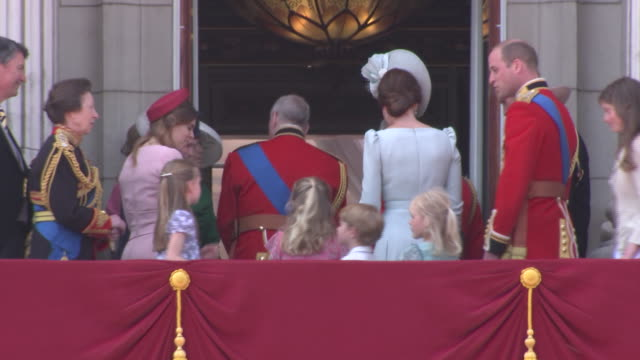 the royal family stands on the balcony of buckingham palace during the 2018 trooping the colour, where regiments of the british and commonwealth... - (war or terrorism or election or government or illness or news event or speech or politics or politician or conflict or military or extreme weather or business or economy) and not usa stock videos & royalty-free footage