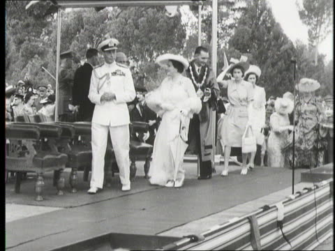 the royal family walks onto a stage on a tour of south africa 1947 - 1947 stock videos & royalty-free footage