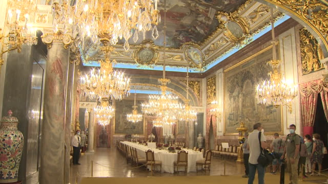 the royal palace has reopened after closing three months ago due to coronavirus. it has reopened with a new way of visiting due to anti-contagion... - dining room stock videos & royalty-free footage