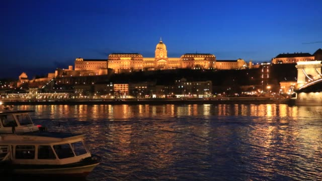 the royal palace, hungarian national gallery at night, river danube, budapest city, hungary. - royal palace of buda stock videos & royalty-free footage