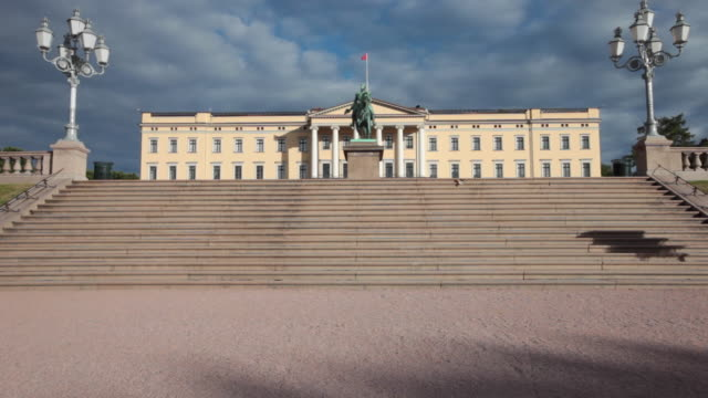 the royal palace in oslo - royalty stock videos & royalty-free footage