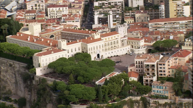 the royal palace perches on a hilltop above monaco, france. - palace stock-videos und b-roll-filmmaterial