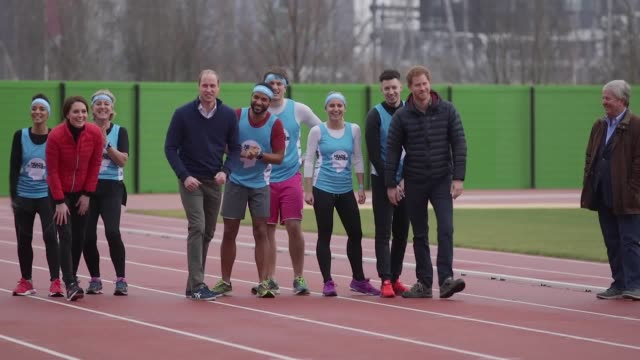 the royal trio lacedup their trainers and took to the track at the queen elizabeth olympic park in east london for their mental health campaign head... - face to face stock videos & royalty-free footage