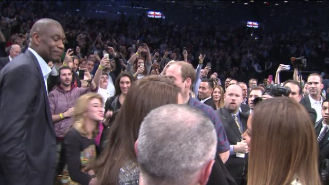 the royals in brooklyn prince william and kate middleton arrive at barclays center while the royal couple watched the nets take on the cavs at the... - hov bildbanksvideor och videomaterial från bakom kulisserna